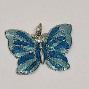 Vintage Butterfly Pendant Silver Tone / Blue